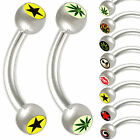 pair steel curved bent barbell eyebrow piercing tragus lip 9IBM-PICK STYLE&SIZE