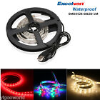 60 LED Strip Light 3528 SMD/RGB Ribbon Tape Roll Waterproof For Party Garment US