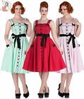HELL BUNNY 50's MARTIE POLKA DOT rockabilly DRESS RED MINT PINK