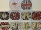 "Round 13"" vintage/retro art design wall clocks in various designs *High quality*"