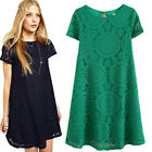 2016 Fasion Summer Women's Short Sleeve Round Collar Lace Dress Loose Skirts