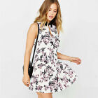 Women Mini Dress Fresh and Sweet Floral Printing Chest Slit High Waist ShortDres