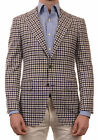 Sartoria PARTENOPEA Hand Made Blue Gingham Plaid Cashmere Jacket Sports Coat