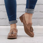 Womens Brown Faux Suede Tassel Loafers Vintage Flats Office School Ladies Shoes