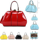 Medium Size Patent Bag For Women Ladies Designer Faux Leather Celebrity Style379