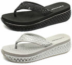Dunlop Interwoven 2016 Womens Low Wedge Flip Flops ALL SIZES AND COLOURS