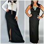 CONVERTIBLE Solid BLACK MAXI SKIRT STRAPLESS MAXI DRESS Full Length Knit S M L
