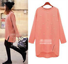 HOT Women Casual Jumper Long Sleeve Pullover Tops Knitted Sweater Dress NEW
