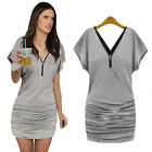 Sexy Women V-neck Short Batwing Sleeve Zip Up Bodycon Casual Mini Party Dress