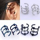 Pair Stainless Steel Ear Cuff Fake Cheater Earring Cartilage Clip On Men Jewelry