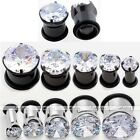 Stainless Steel CZ Gem Hollow Single Flared O-Ring Ear Tunnel Plug Flesh Earlets