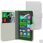 White PU Leather Wallet Flip Case Cover & Screen Guard For Various Phones