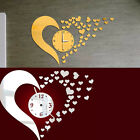 DIY Mirror Love Heart Wall Clock Decal Home Modern Decoration Art Mural Stickers