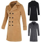 Overcoat Men's Slim Fit Double Breasted Wool Blends Trench Coat 3 Colors Casual