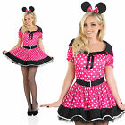 Ladies Pink Missy Mouse Fancy Dress Costume Minnie Disney Outfit Womens