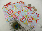 Handmade Purse or Cosmetic Makeup Bag Retro Floral Flower fabric Choice of size