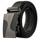 Veronz Men's Elegant Wide Leather Slide Belt Ratchet Belt Buckle Two Sizes