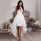 New Women White Lace Irregular Sleeveless Cocktail Formal Party Bridesmaid Dress