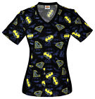 Justice League Cherokee Tooniform V Neck Knit Panel Scrub Top 6810 CB DMJL