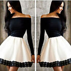 New Fashion Womens One Shoulder Skirt Dress Lace Skater Ladies Party Mini Dress