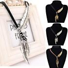 Fashion Bohemian Leather Rope Chain Feather Pendant Statement Necklace Jewelry