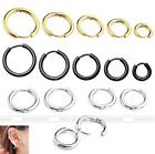 18G Fashion Men Women Golden Stainless Steel Tube Huggie Hoop Ear Stud Earrings