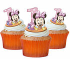 24 x MINNIE MOUSE 1ST BIRTHDAY STAND UP TOPPERS  Edible Wafer Cupcake Toppers...