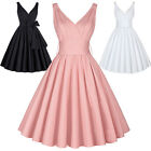 UK~ 50S Women Ladies Retro DRESS Swing Housewife Party Vintage Style Pinup Dress