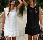 lady Evening Mini Lace Dress Summer Casual Sleeveless tops Skirt plus size hot
