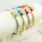 Fashion 4Colors Chain Rhinestone Leather Triangle Logo Bangle Brand Bracelet