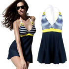 Sexy Womens Stripes One Piece Swimsuit Push Up Bandeau Bikini Monokini Swimwear