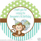 Personalised Cute Monkey  Birthday Self Adhesive Gloss Sticker Label 2 sizes