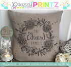 PERSONALISED FAMILY MOTHERS FATHERS DAY CUSHION CANVAS CHRISTMAS WEDDING GIFT