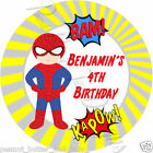 Personalised Superhero Birthday Self Adhesive Gloss Sticker Label 2 sizes