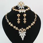 Women's Gold Plated Rhinestone Necklace Bracelet Earring Ring Party Jewelry Set