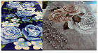 NEW QUEEN 2PLY KOREAN STYLE BLUE ROSES / TAUPE ROSE & PEARLS PLUSH MINK BLANKET