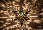 Moravian Star Pierced Metal Tin Glass Marbles Pendant Light Lamp Hanging Porch