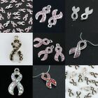 7 Colors Crystal Austrian Loose Spacer Charm Ribbon Bead Breast Cancer Awareness
