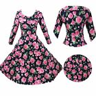 Vintage Hepburn Cowgirl Rockabilly Long Sleeve Swing Floral Prom Black  Dress