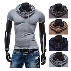 New Fashion Men Korean Casual Hoodie Short Sleeve Shirts Muscle Tops T-shirt