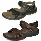 Clarks Unstructured Un Reach Black Or Brown Leather Casual Velcro Sandals