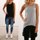 Casual Women Summer Sleeveless  Tank Tops Shirt Loose Irregular Blouse Back Long