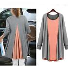 Women Chiffon Cotton Tops Scoop Neck Tee Shirt Plus Size Blouse Long Tunic Tops