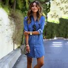 2016 Women Fashion Long Sleeve Blue Jeans Long T-shirt Casual Denim Mini Dress