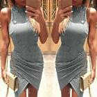 Fashion Women's Sexy Dress Sleeveless High Collar Irregular Party Bodycon Dress
