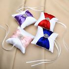 Romantic Wedding Party Bowknot Satin Diamond Pocket Ring Pillow Bearer Cushion
