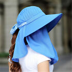 Woman 360°UV Protection Wide Brim Summer Beach Sun Hats Fold Hiking Riding Cap