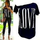Summer Lady New Fashion Loose Short Sleeve Black Tops T-Shirt Love Blouse UK