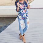 2016 New Arrival Women Summer Elegant Blue Floral Print Blouse Chiffon Shirt Top