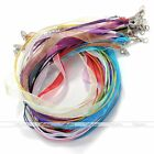 2x 4mm Ribbon Voile Necklace Silk Organza Cord for Pendant Findings DIY 17-18.5""